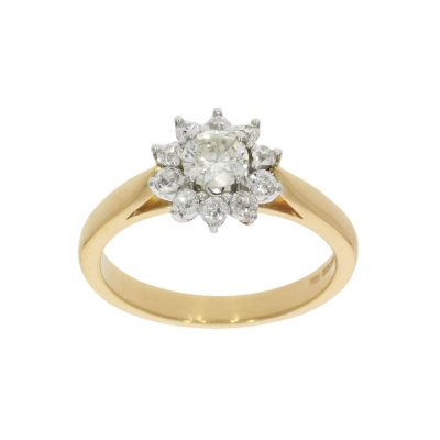 Vintage style yellow and white gold engagement ring made in bath and bristol