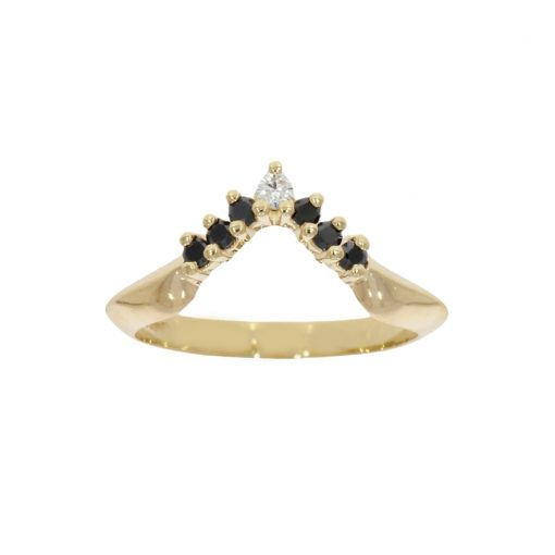 A yellow gold shaped wedding ring with black diamonds