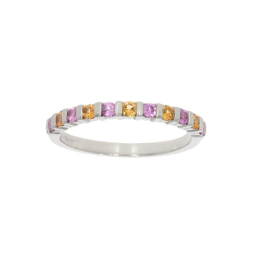 unusual and unique pink and orange sapphire half eternity style wedding band