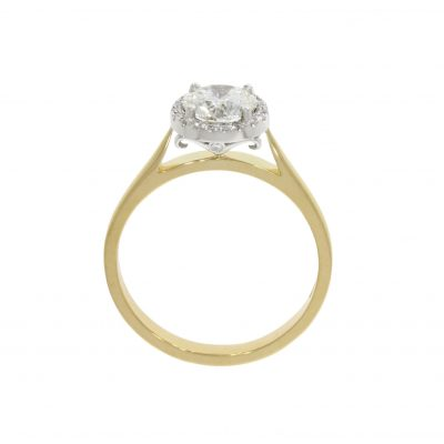 white and yellow secret and wylde flower diamond halo engagement ring