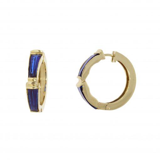 Retro 22ct and 14ct blue glass hoop earrings of unusual shape.