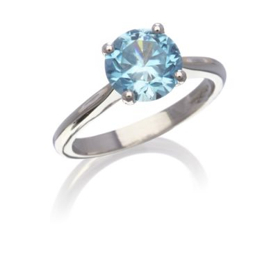 Blue zircon single stone ring