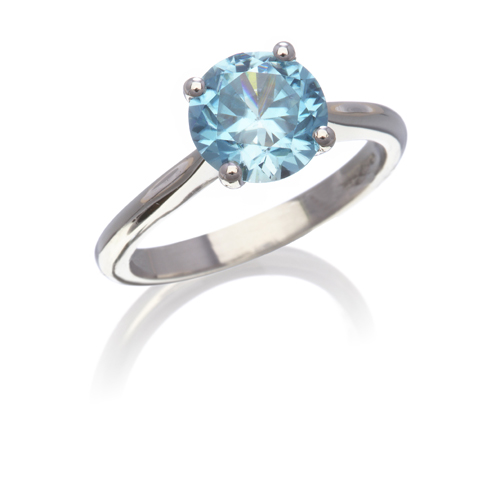 Blue zircon single stone ring