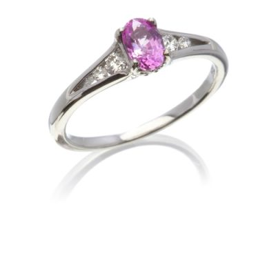 Pink sapphire and diamond five stone ring