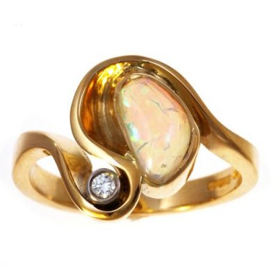 Opal and diamond 2 stone ring