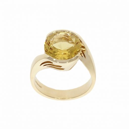 yellow gold statement beryl ring high windows collet unusual bath bristol goldsmith