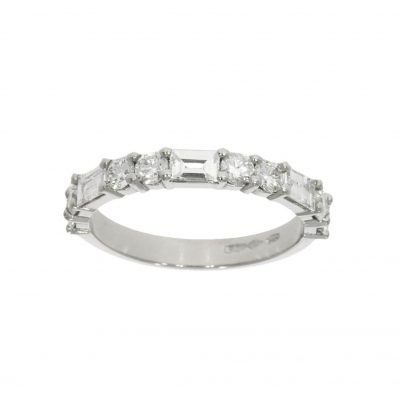A Mixed Diamond Half Eternity Wedding Ring with Baguette and Brilliant Cuts