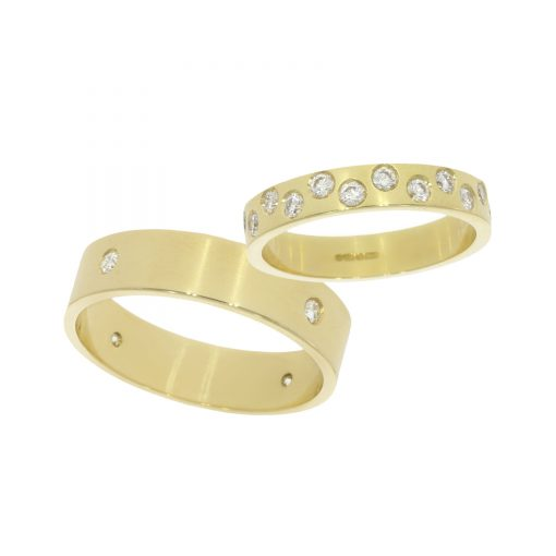 Contemporary simple flush set diamond his and her wedding bands