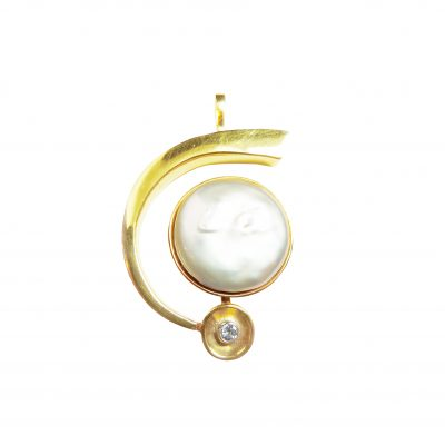 globe necklace pearl diamond yellow gold pendant necklace wylde
