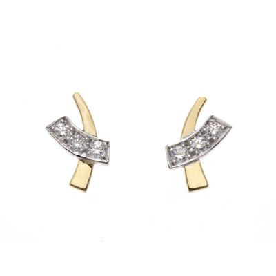 Diamond set crossover earrings