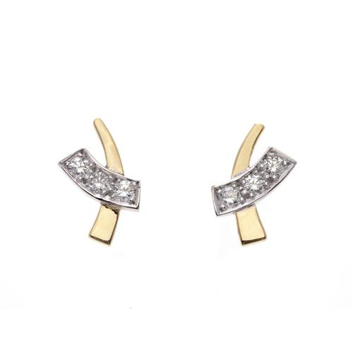 Diamond set crossover earrings