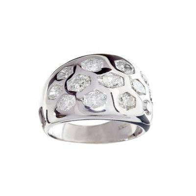 hexagon diamond flush cocktail modern chunky gold silver wylde ring