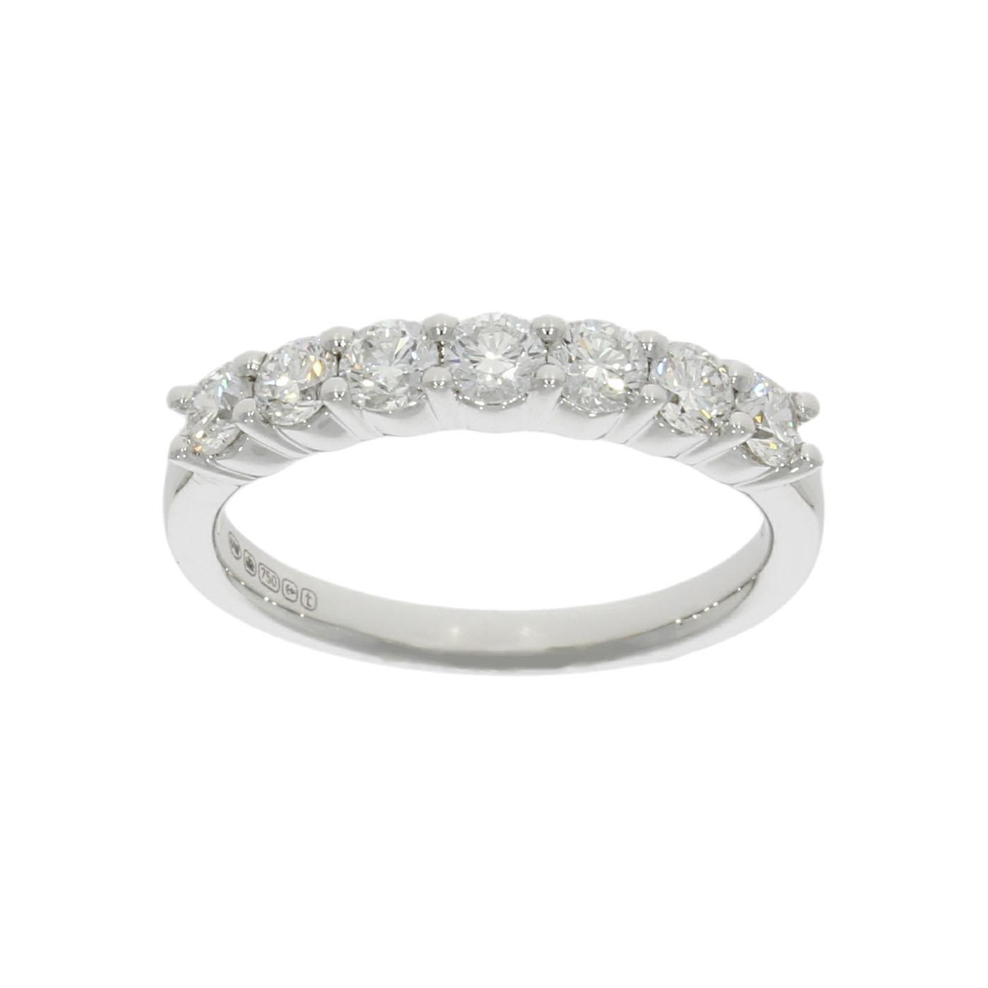 classic platinum 18ct white gold half eternity diamond wedding band ring uk handmade