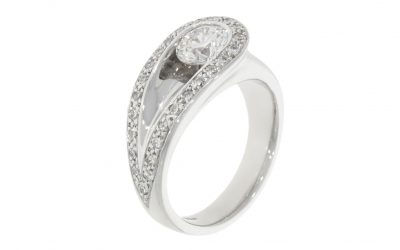 18ct White Gold 'Loop' Engagement Ring