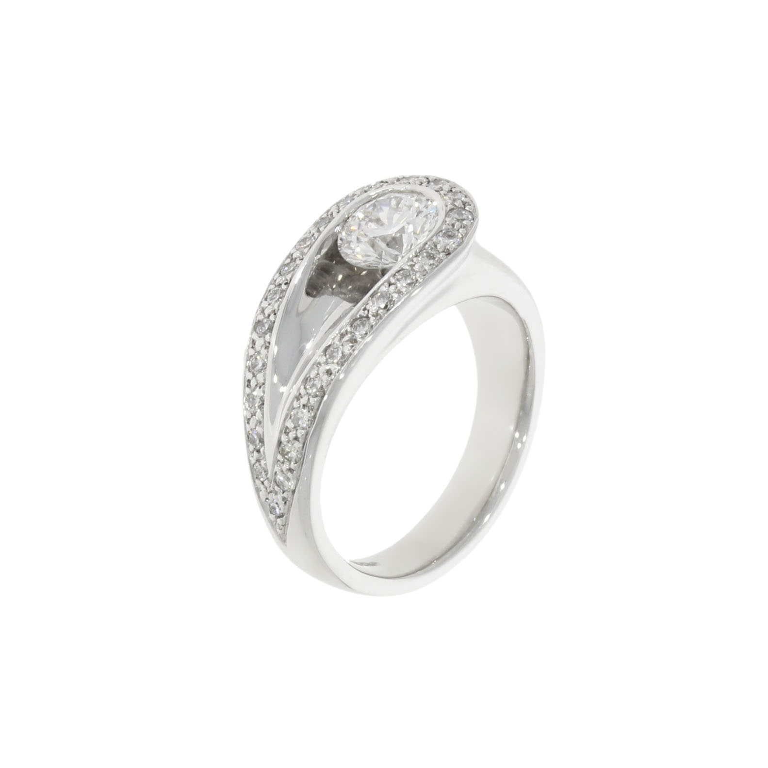 0.7ct approx white gold asymmetric contemporary diamond engagement ring