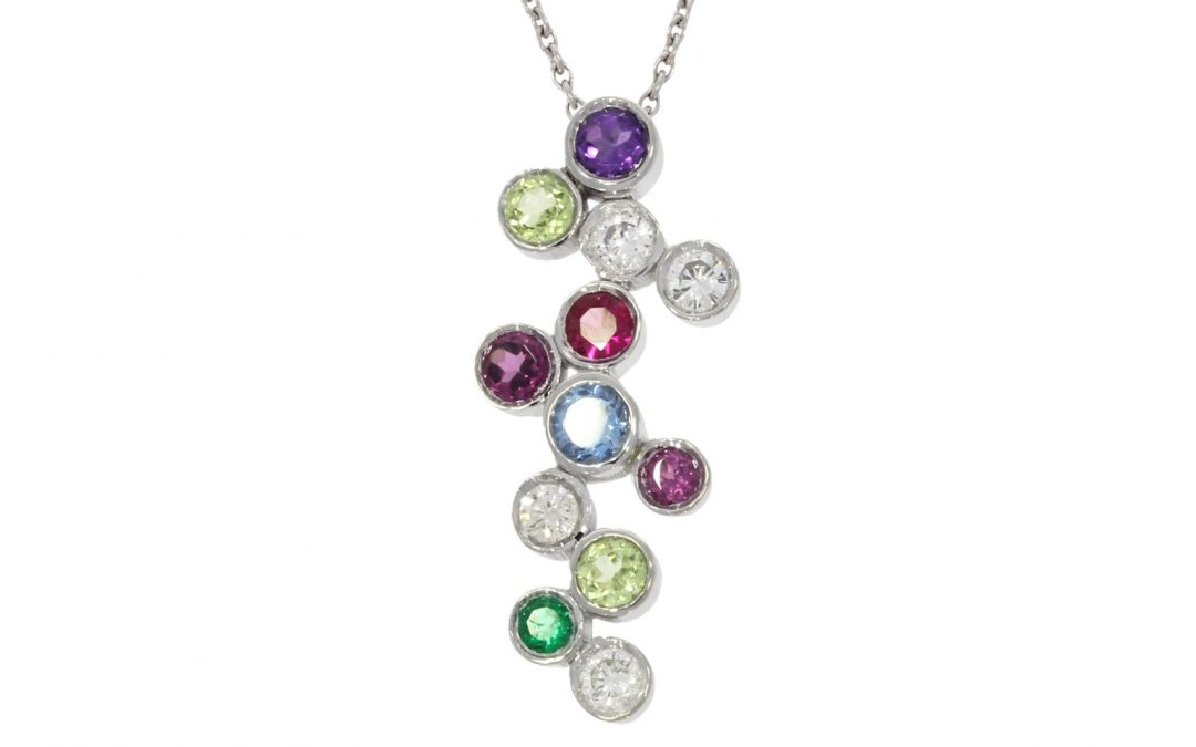 18ct White Gold Multi-Birthstone Pendant