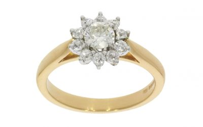 18ct Yellow Gold & Platinum Cluster Ring