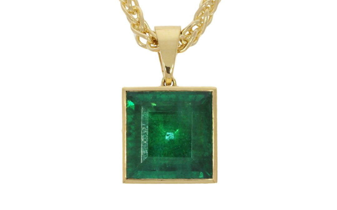 18ct Yellow Gold & Square Emerald Necklace
