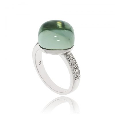 a bubbley green amethyst cushion cabochon diamond ring