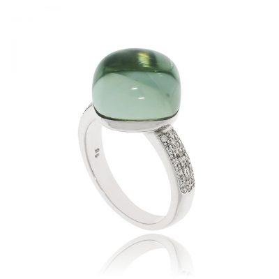 a bubbley green amethyst cushion cabochon diamond ring
