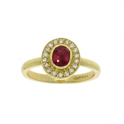 ruby oval diamond yellow gold cluster ring roman antique stylish bath bristol uk wylde