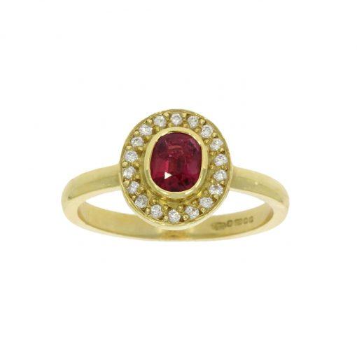 ruby oval diamond yellow gold cluster ring roman antique stylish bath bristol uk wylde
