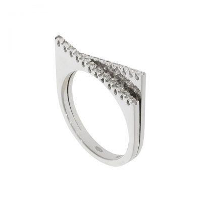 A double layel stacking ring illusion contemporary diamond ring