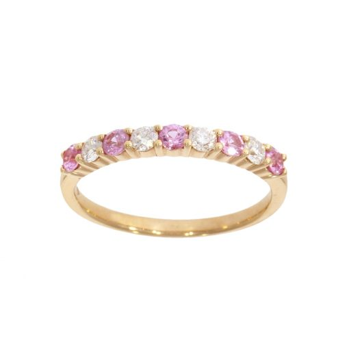 a rose gold diamond and pink sapphire half eternity wedding ring