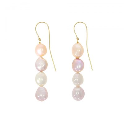 A pair of millenial pastel pink cream and white four pearl drop earrings