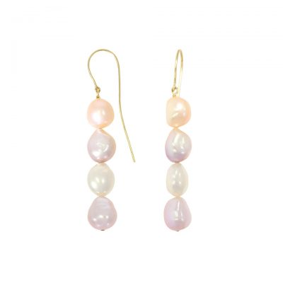 A pair of four pastel pearl long drop solid gold earrings