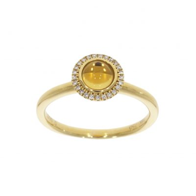 An all yellow gold and cabochon stone citrine diamond round cluster ring