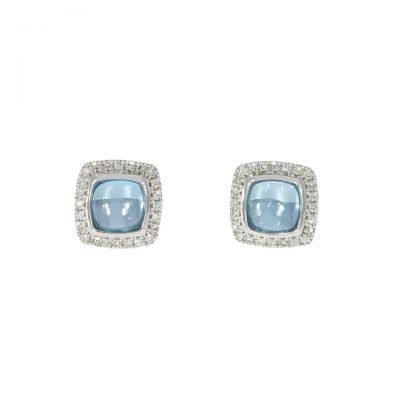 18ct white gold blue topaz cabochon cut diamond cluster earrings
