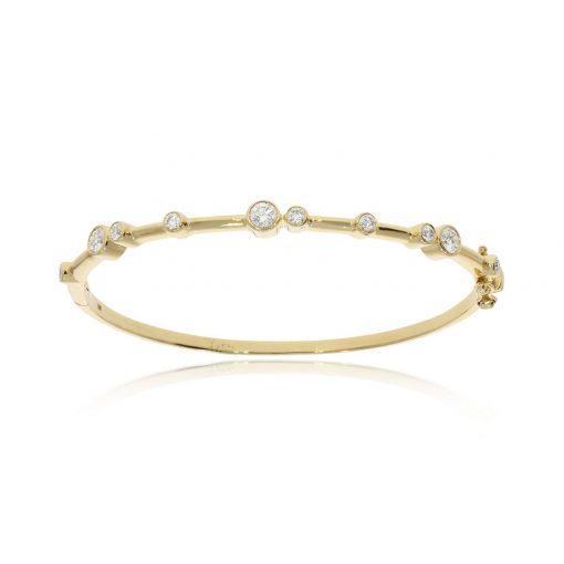 High fashion designer diamond 18ct yellow gold cuff bangle