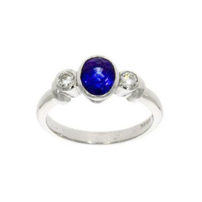 wylde blue sapphire diamond engagement ring triple three stone