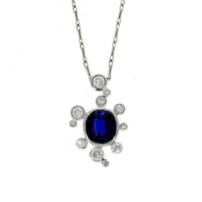 dark black blue sapphire diamond cluster bubble pendant