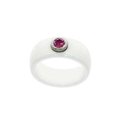 White and pink ceramic jewellery dress ring UK