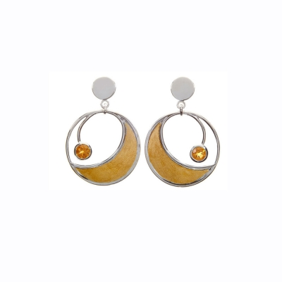 Solo Citrine Circular earrings