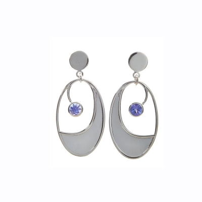 Solo Tanzanite Oval Earrings