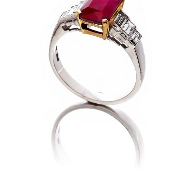Ruby and diamond seven stone ring