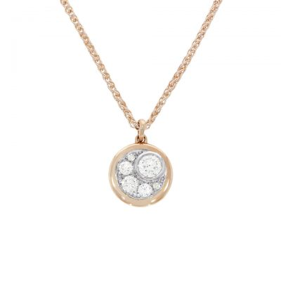 A rose gold subtle moon and star diamond pendant necklace