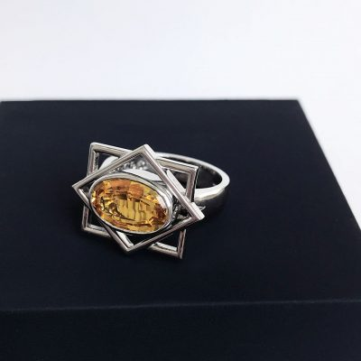 Oval cut citrine geometric white gold ring