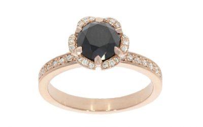9ct Rose Gold & Black Diamond Flower Ring