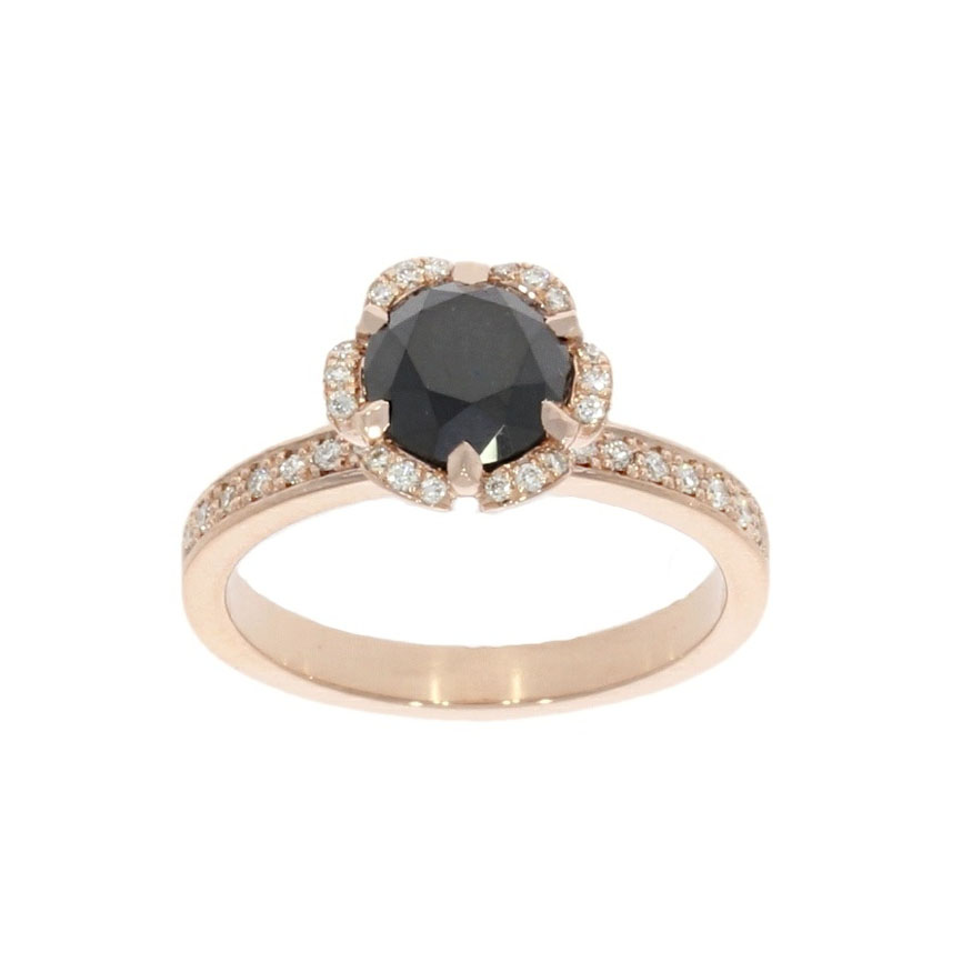 Rose gold and black diamond flower design intricate engagement ring