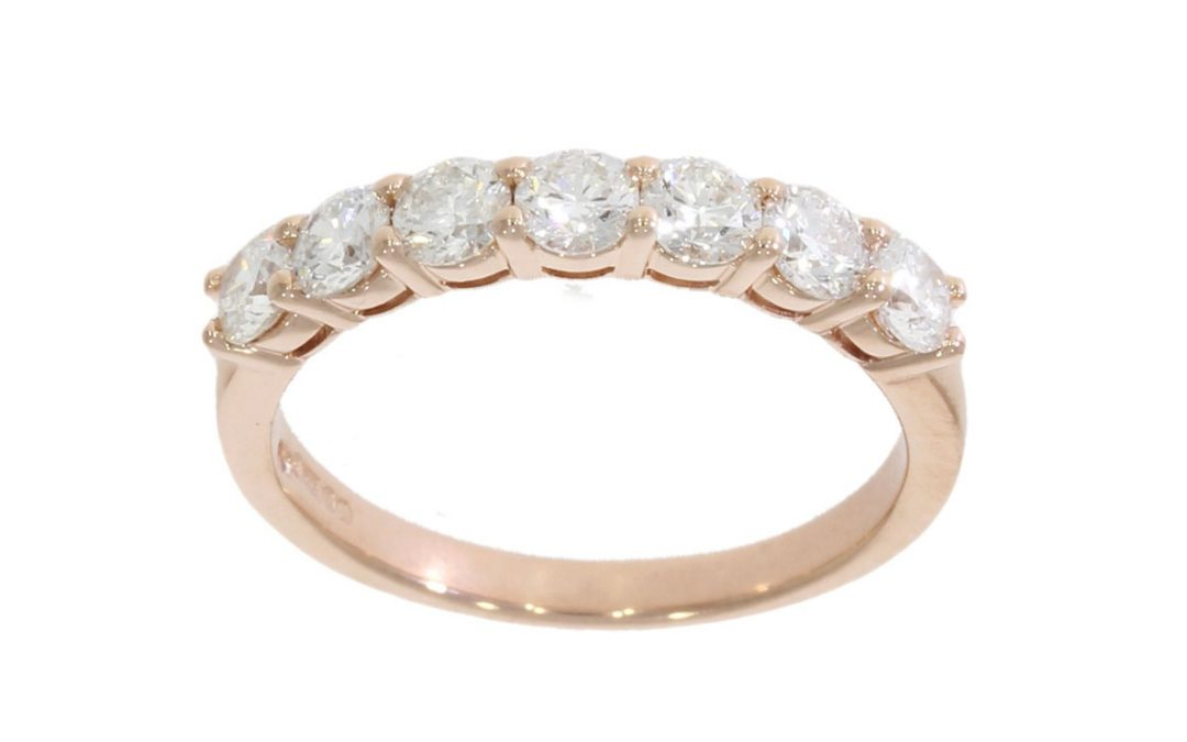 9ct Rose Gold Half Eternity Diamond Ring