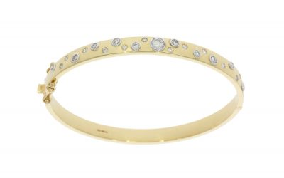 9ct Yellow Gold Diamond Bangle