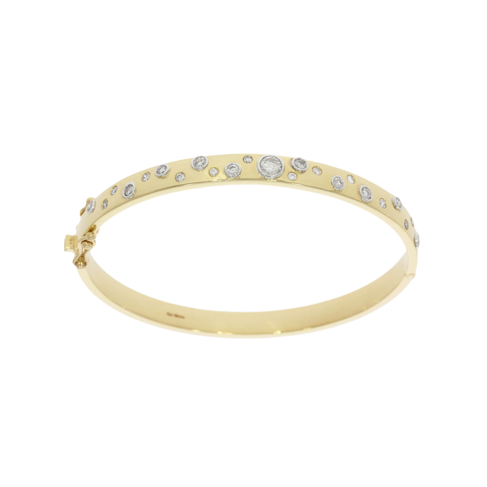 A yellow gold and diamond encrusted hinged bangle bracelet