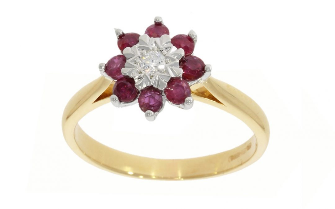 9ct Yellow Gold Ruby Cluster Ring