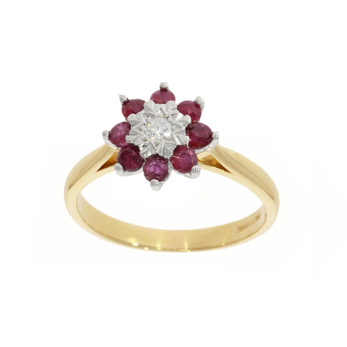 star set ruby rubies diamond cluster ring remodel vintage style ring