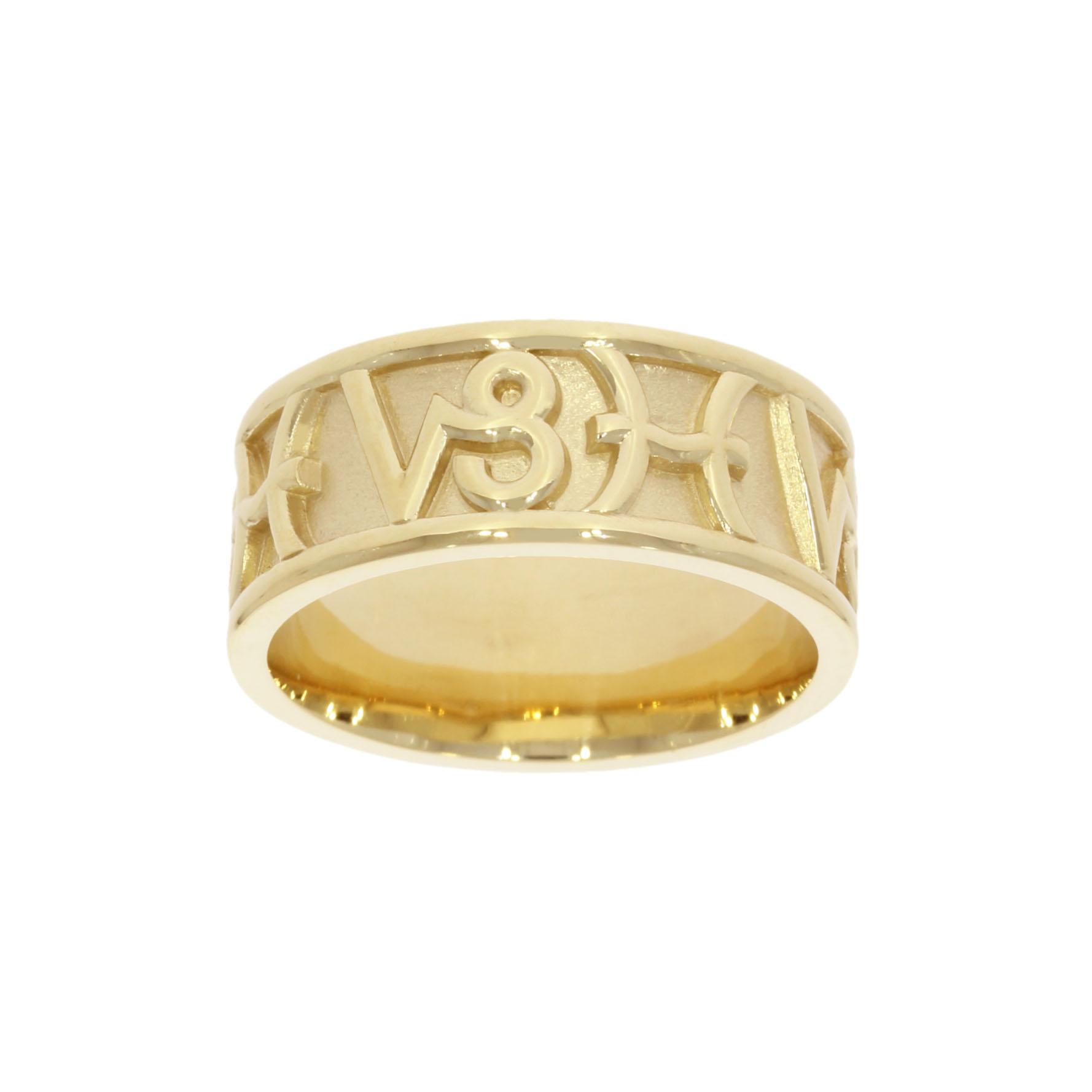 personalised 9ct yellow gold zodiac Capricorn Pisces compatibility wedding ring band spiritual goldsmith uk