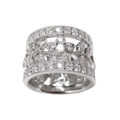 grain pave wide intricate ring CAD design